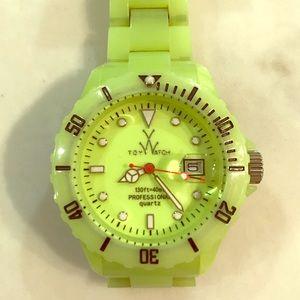"""ToyWatch """"Plasteramic"""" neon green unisex watch"""
